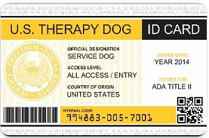 Universal Therapy Dog ID Card