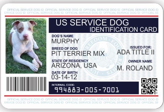 image about Printable Ada Service Dog Card named Identity Card Illustrations : Provider Canine Vest And Identity Card Kits
