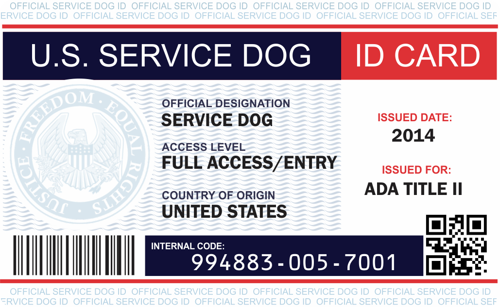 Id Card Examples Service Dog Vest And Id Card Kits